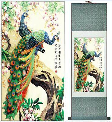 Two Peacocks On Tree Asian Chinese Japanese Hanging Canvas Scroll Wall Art