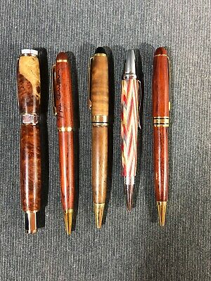 Lot of (5) Wooden Ball Point Pens ect. (used) Free Ship