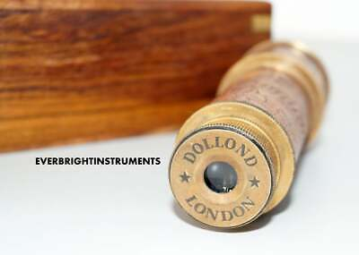 Antique Brass DOLLOND LONDON Spyglass Telescope Vintage Nautical With Wooden Box