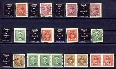 16x Canada War issue Mint & Used  Booklet pane singles, 1x  used 3c imperf