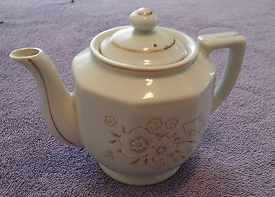 Vintage Japanese Tea Pot White Gold Japan 5.5 inches with Lid Gold Trim