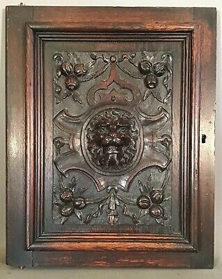 19thC Antique VICTORIAN ESTATE Salvaged LION BUST Old CARVED WOOD Cabinet PANEL