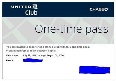 2  New Chase United Club One-Time Pass – EXP 8/3/2020