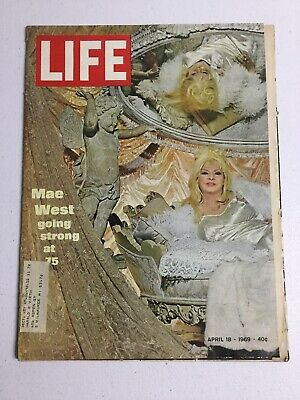 Vintage Life Magazine April 18 1969 Mae West With Bag & Board!