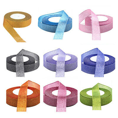 22 Metres 25mm Double Sided Satin Glitter Ribbons Bling Bows Reels Wedding Y3L9