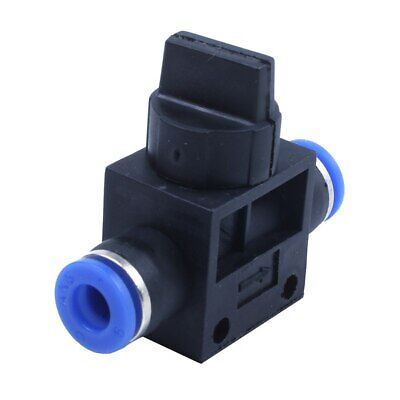 1/4 Turn Blue Black Plastic 6mm Hose Pipe Fitting Coupler Ball Valve W2D2