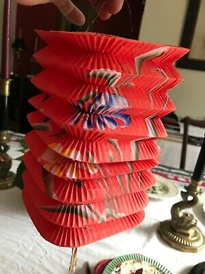 Vtg Lot (6) Hand-Painted Accordion Paper Asian Oriental Chinese Lanterns