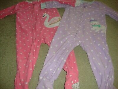 Girl Toddler Carters Long Sleeve Footed Pajamas Size 18 Mos. lot of 2