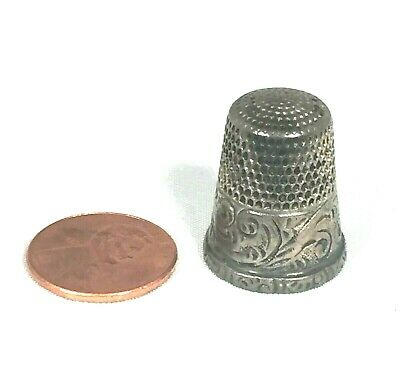 Antique Simons Bros Silver Thimble Scroll Decoration - Sterling?