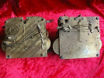 Two old mantel chiming Westminster clock movements Baduf Musterschutz Norland