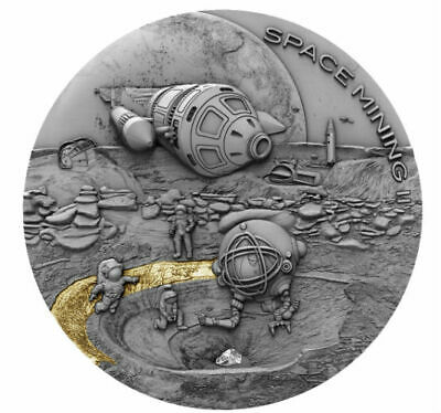 SPACE MINING II 2019 1 oz Silver Coin Ultra High Relief with Antique Finish NIUE