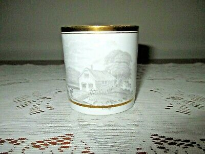 Rare Early 19Th Century China Porcelain Black & White Coffee Can Mug Cup