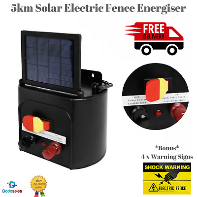 NEW 5Km Solar Power Electric Fence Charger Kit Farm Animal Livestock Fencing