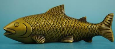 Old Chinese fengshui copper hand-carved fish propitious statue /xuande mar e02