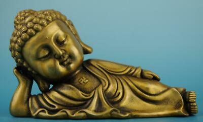 Old Chinese fengshui copper hand-carved Sleeping Buddha statue f01