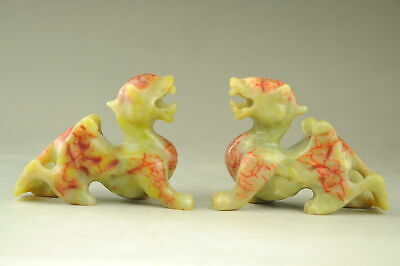 Old China natural Xiu Jade hand-carved Unicorn Kylin pixiu beast Statue Pair d01