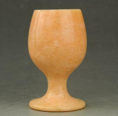Chinese hand carved Natura yellow Jade Beautiful wine Cup a01