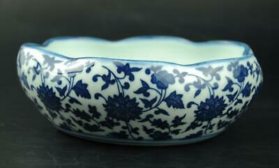 Old China White and blue Porcelain Hand-painted flower writing-brush washer b02