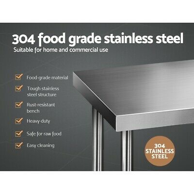 Commercial Food Prep Table 304 Stainless Steel Bench Home Prepping 1219mmx610mm