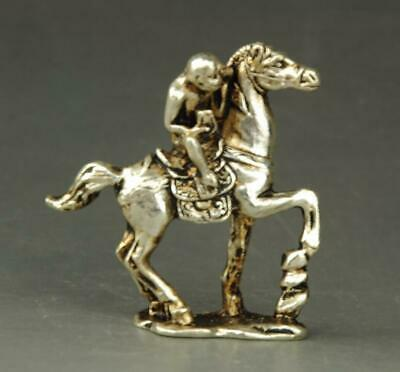 chinese old Tibet silver hand-carved monkey riding a horse statue a01