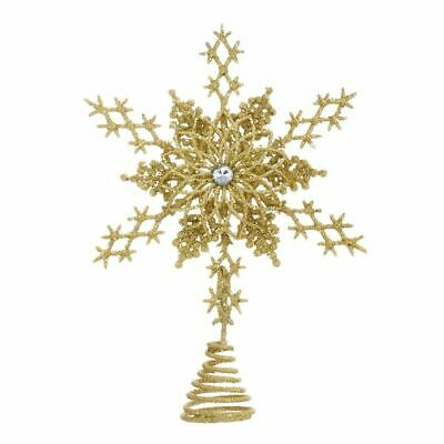 "Snowflake Star Tree Topper Gold Glitter Medium Christmas Metal 8"" Kurt Adler"