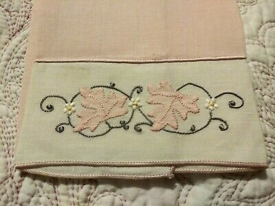 "Gorgeous Light Pink Madeira Applique & Embroidered Linen Hand Towel 19"" by 11"""
