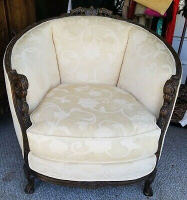 Antique French Bergere Louis XV Style Walnut Carved Trim Upholstered Chair Hers