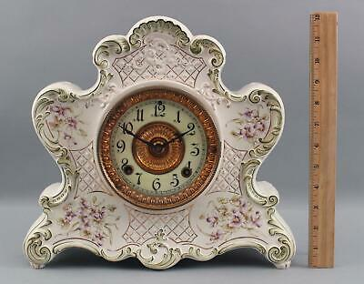 Early 20thC Ansonia Clock Co. Dresden Porcelain Mantle Clock No.674