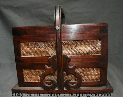 """20"""" Rare Old Chinese Huanghuali Wood Vitex Dynasty Portable Food Box Container"""
