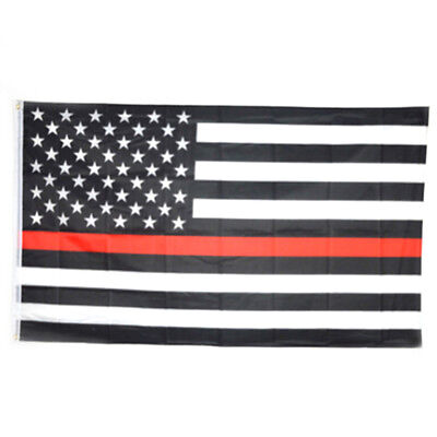 Thin Red Line American Flag Respect Honor Fire Fighter Volunteer USA Flag 3x5 ft