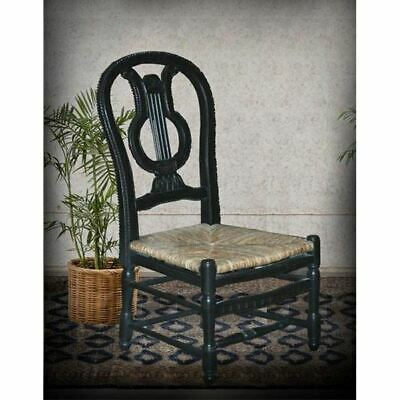 French Country Farmhouse Distressed Black Carved Mahogany Side Chair Lyre