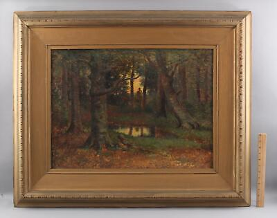 Lrg Antique FRANK DARRAH American Impressionist Wooded Landscape Oil Painting NR