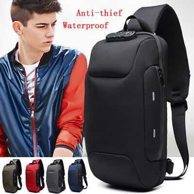 Anti-theft Backpack Mens Waterproof Shoulder Bag With 3Digit Lock Travel Outdoor