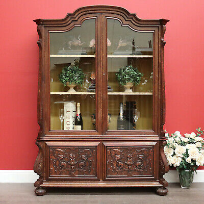 Antique French Oak and Glass 4 Door Bookcase China Cabinet Display Cupboard