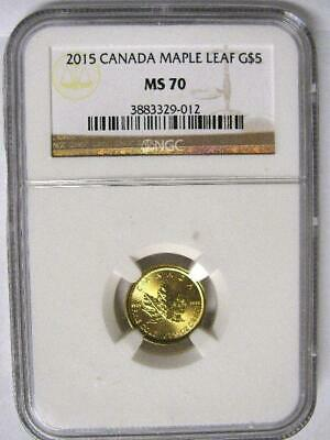 Ultra Rare 2015 Canada NGC MS70 $5 1/10 Gold Maple Leaf Census 3 G$5 .9999 Fine