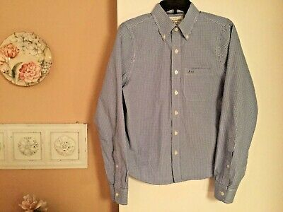 Abercrombie Fitch Boys Sz 14 Button Front Long Sleeve Shirt Blue White Checkered