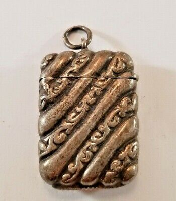 Antique Sterling Silver Vesta Match safe with Repousse