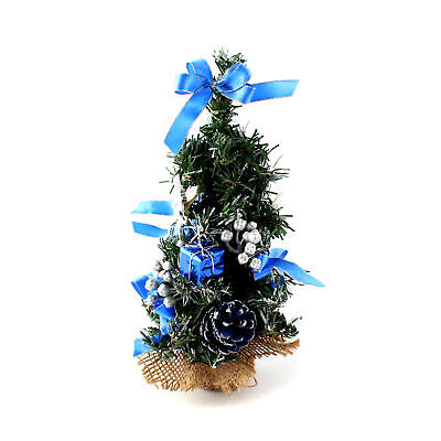"10"" Mini Desk Top Office Bedroom Artifical Christmas Tree With Base Xmas Gift"