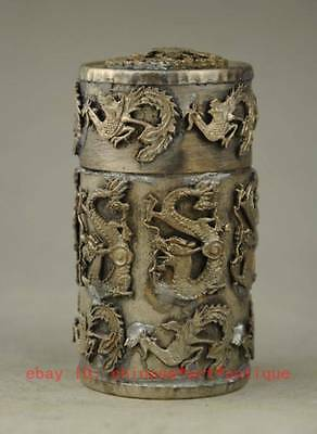 Old Chinese copper plating silver Dragon Phoenix Coccoloba Toothpick Box a01
