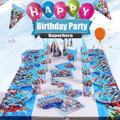 Superheroes Marvel Avengers Birthday Party Supplies Decorations Plates Tableware