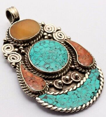 ZG2878 Turquoise, Red Coral 925 Silver Plated Nepal Tribal Pendant 2.7""