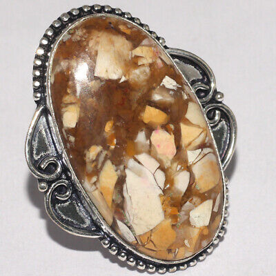 ZH1040 Brecciated Mookaite 925 Silver Plated Handmade Ring US 8