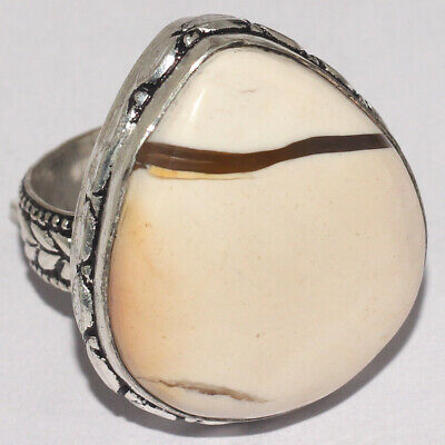 ZH1033 Brecciated Mookaite 925 Silver Plated Handmade Ring US 8
