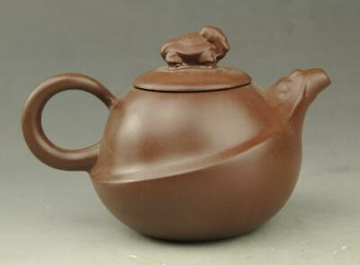 Chinese old Yixing purple sands hand engraving  tortoise lid teapot b02