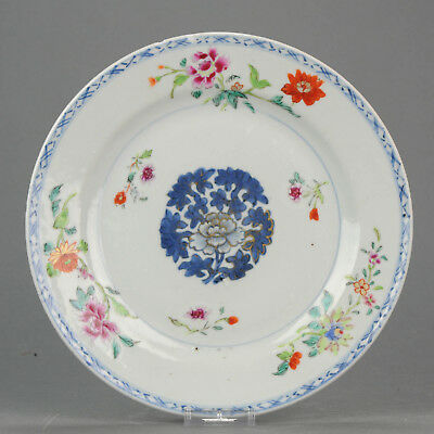Antique Chinese 18C Qianlong Famille Rose  Plate Flowers