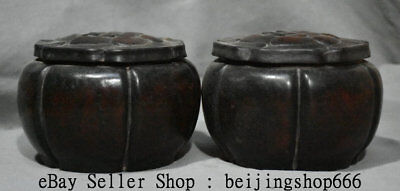 "5"" Old China Huanghuali Yellow Wood Carving Dynasty Palace Chess Box Boxes Pair"