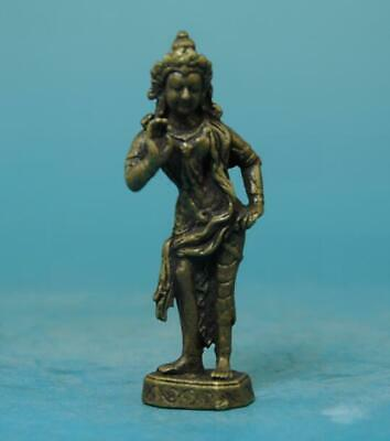 Chinese old fengshui copper hand-carved Green Tara Buddha statue a02
