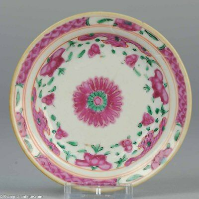 Antique 18/19C Chinese Porcelain Bencharong Plate Dish Thai delicate Flowers