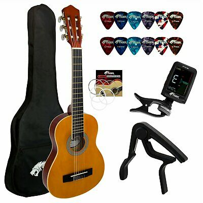 Tiger 3/4 Size Classical Spanish Guitar Pack With Tuner, Picks, Capo, Bag, Strap