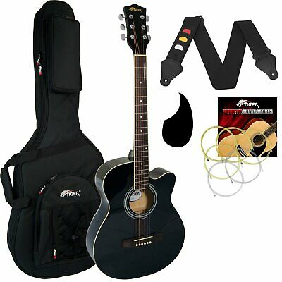 Tiger Black Acoustic Guitar Pack for Students with Premier Padded Bag